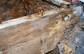 Water damage to a wood foundation.