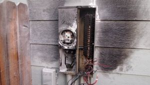 Turn off electricity after a major house fire.