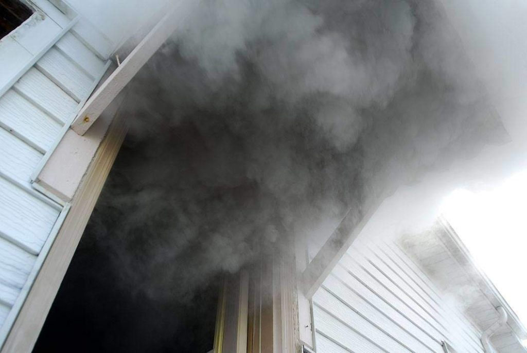 smoke from home fire damage in Amity, PA