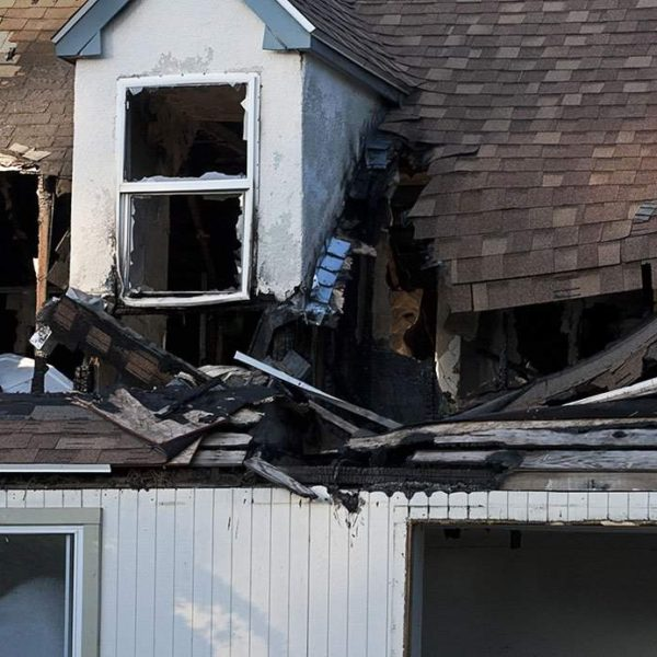roof with fire damage