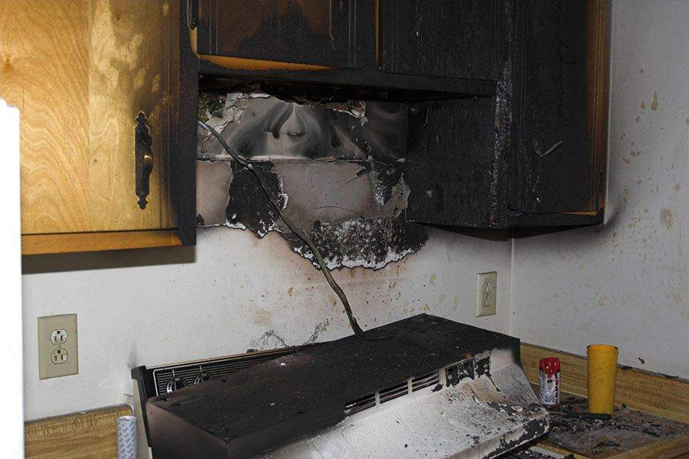Stove fire damage in Hensler, ND