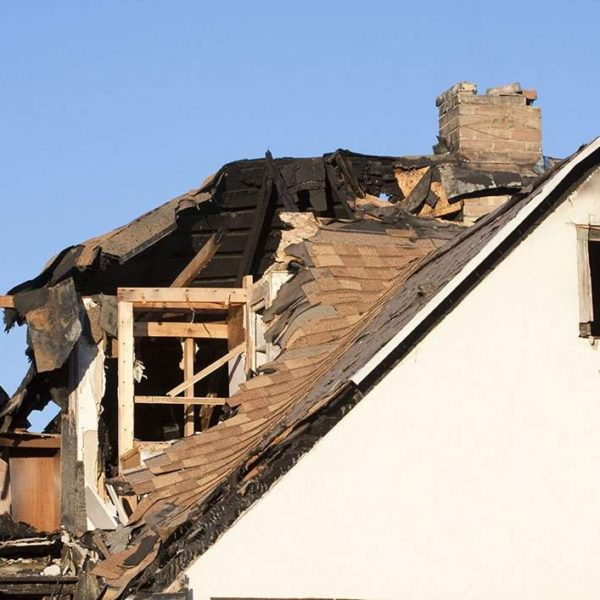 home roof after fire damage