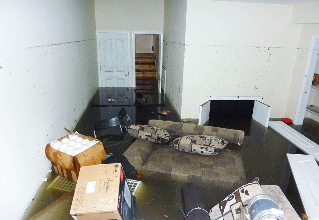 flooded basement in Hensler, ND