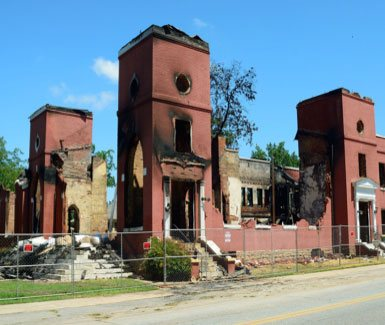 Picture of fire damaged building in Houston, Texas