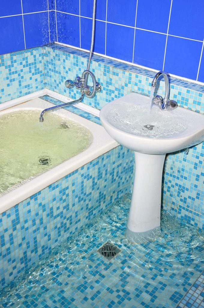 Bathroom water damage in Sandy Springs, GA