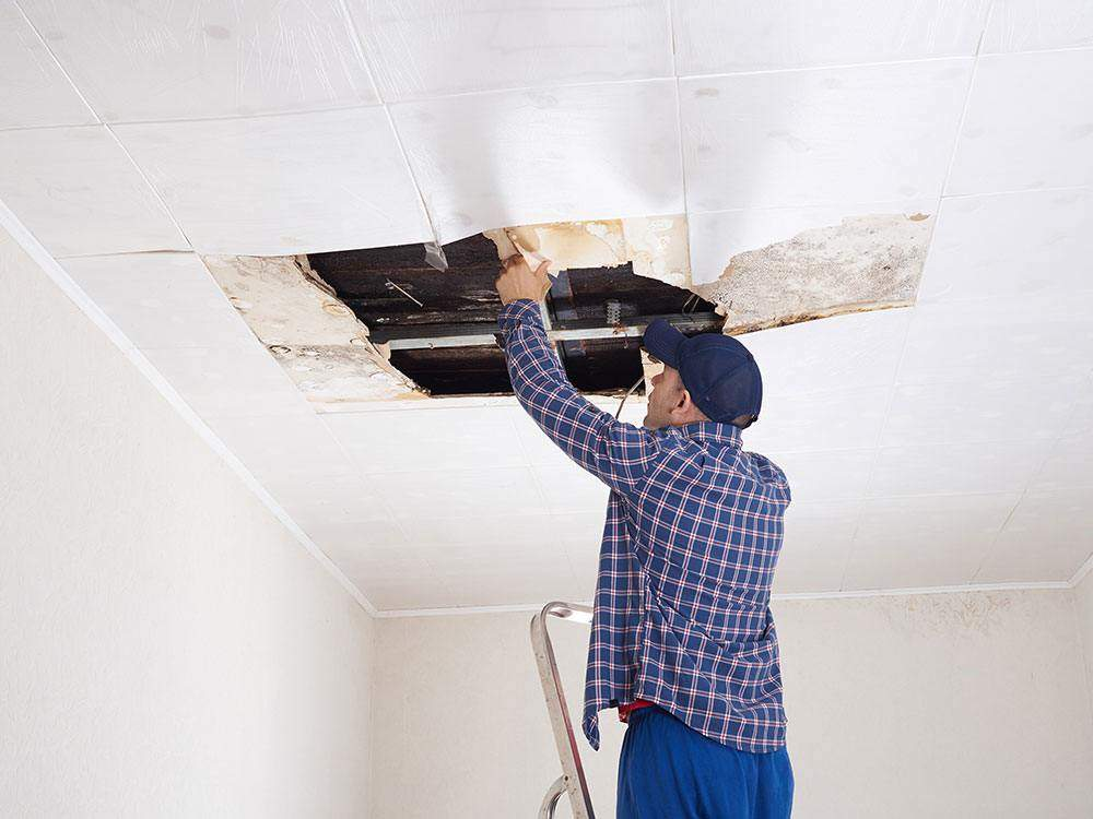 man fixes water damage in Mc Ewen, TN