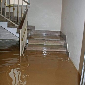 stairs with water damage