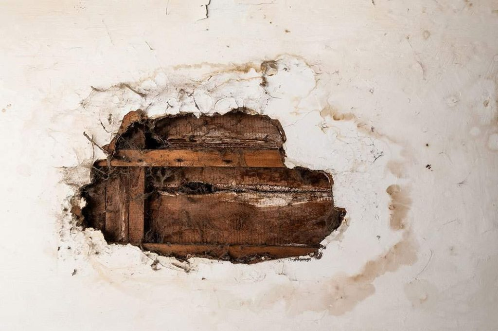 hole in wall caused by water damage in Waterford Township, NJ